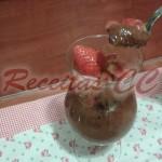 Soufflé chocolate com Calda Morangos
